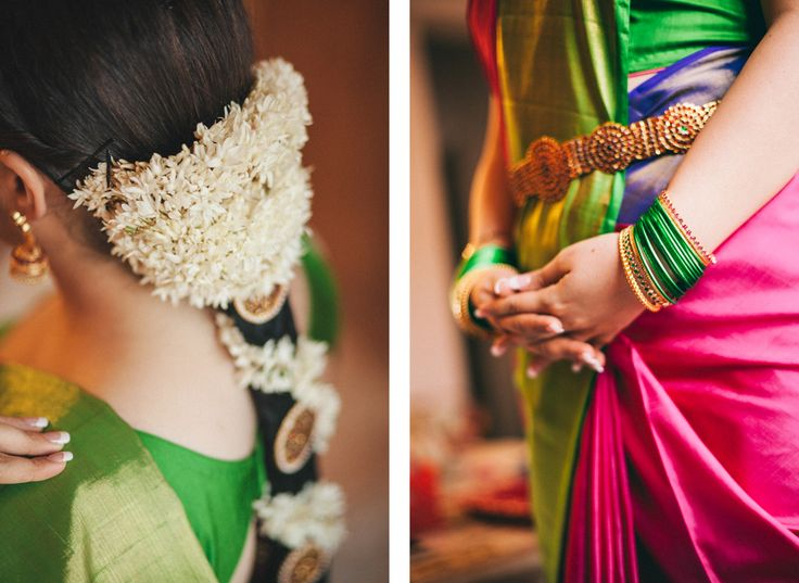 South Indian bride. Temple jewelry. Multicoloured kanchipuram sari. Braid with fresh flowers. Tamil bride. Telugu bride. Kannada bride. Hindu bride. Malayalee bride.