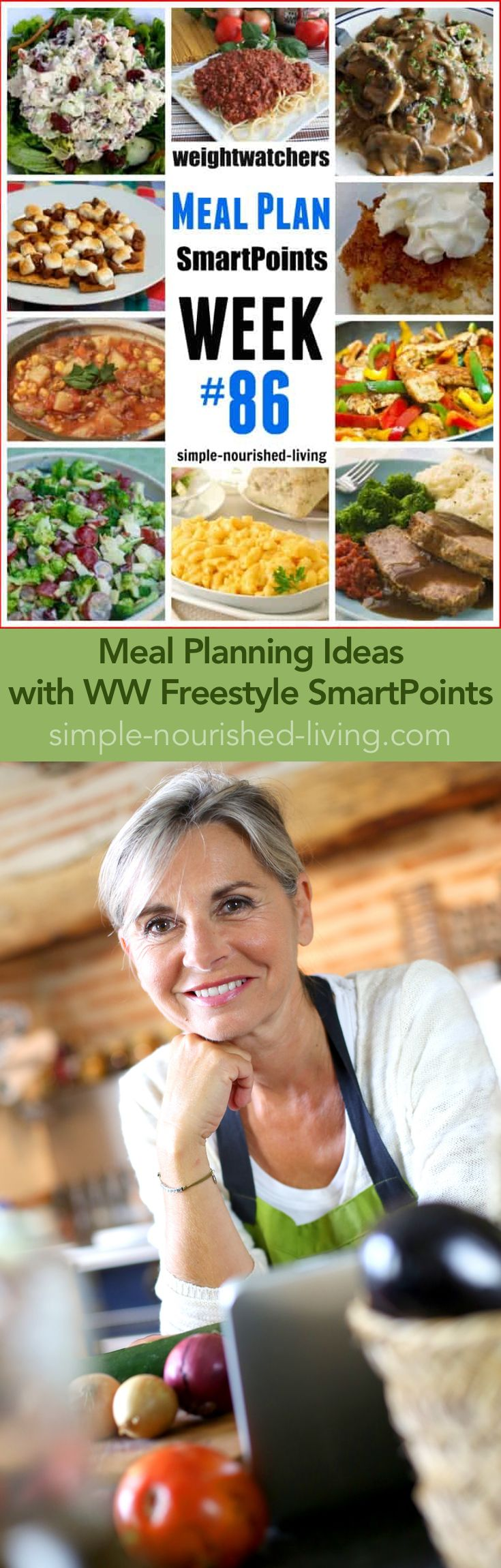 Weight Watchers Friendly Meal Planning Ideas with WW Freestyle SmartPoints. Getting dinner on the table is so much easier when I've planned what I'm cooking and eating ahead of time and done the grocery shopping - Simple-Nourished-Living.com