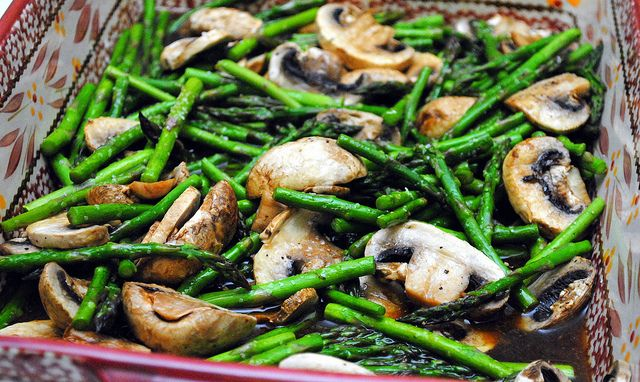 Baked Asparagus & Mushrooms with Balsamic Butter Sauce