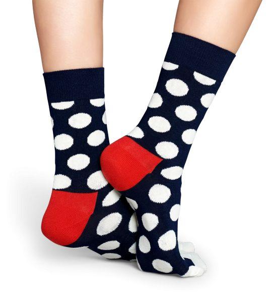 Mørkeblå strømper med store hvide prikker - Happy Socks