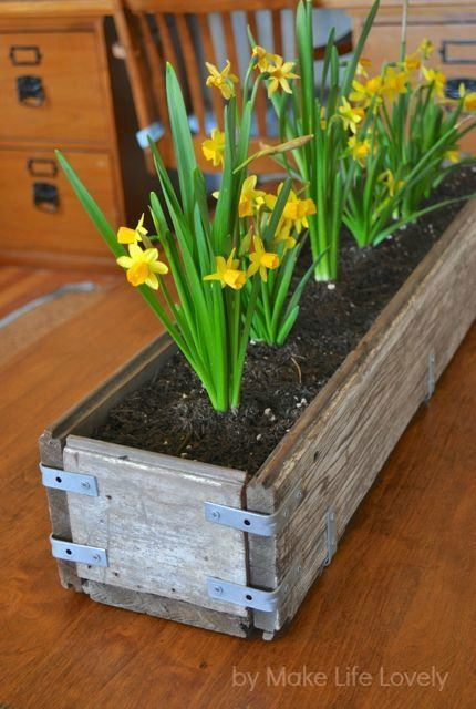DIY Rustic Wood Planter Box.  A nice and easy project to do in the spring with flower bulbs.