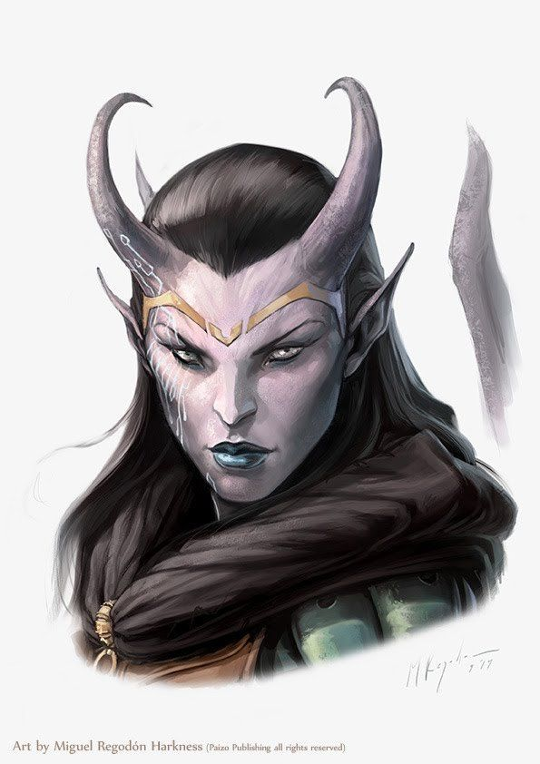 RPG Female Character Portraits — Pathfinder- Ophelia portrait by MiguelRegodon