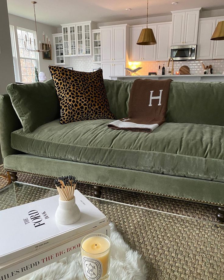 margot sofa moss green velvet in 2021  green sofa living