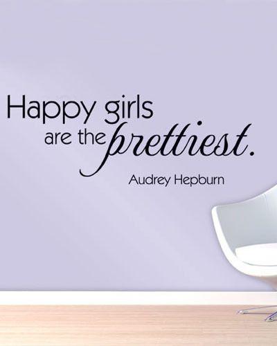 Счастливые Девушки Текст Наклейки Декор Мода Стикер Стены Главная Виниловый Черный Цвет Декора Дома Стикера Стены 2015