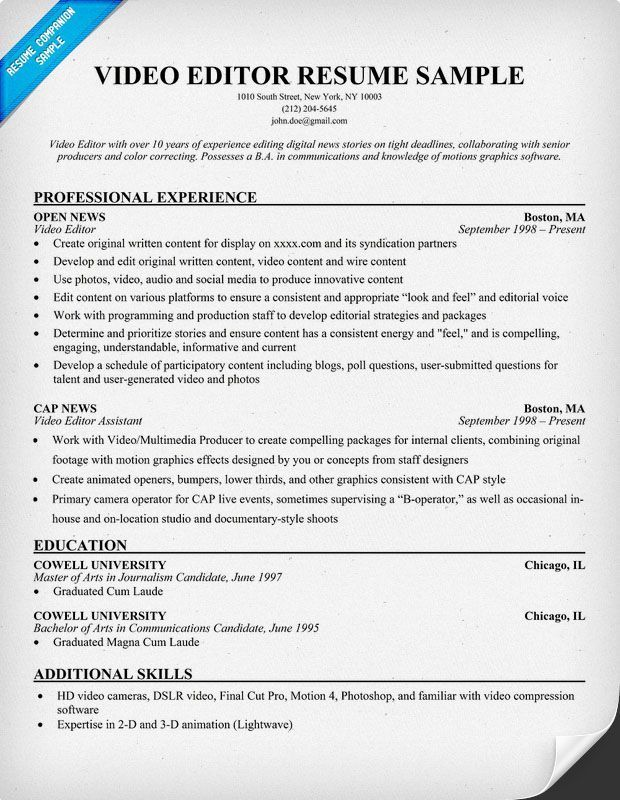 Resume Format Video Editor Resume Templates And Examples