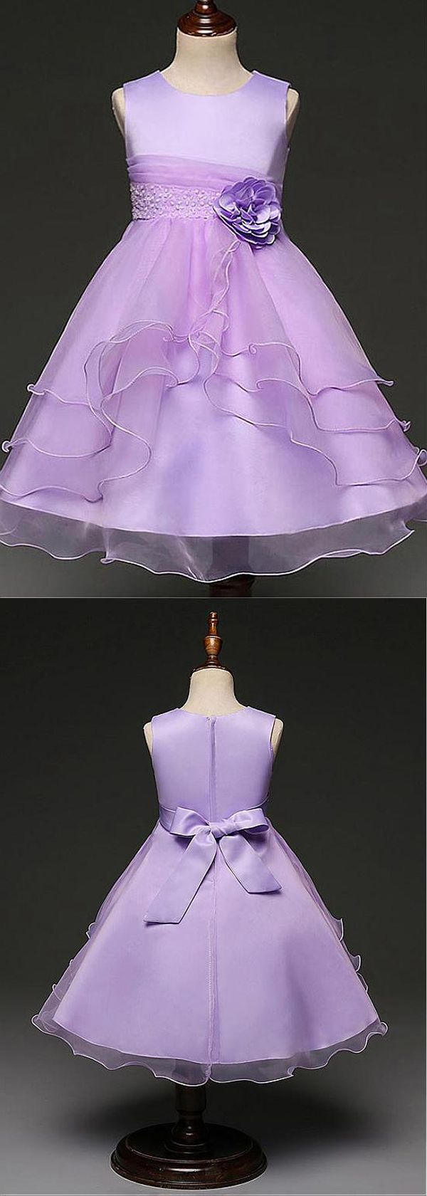 In Stock Wonderful Organza Jewel Neckline Ankle-length A-line Flower Girl Dresses With Beaded Handmade Flowers & Belt