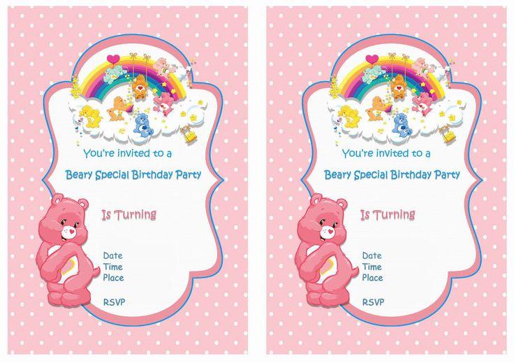 Care Bears FREE Printable Birthday Party Invitations