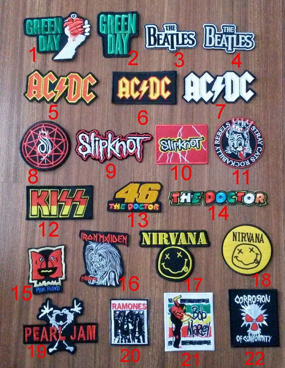 Rock Music Band 22 Model Stray Cats Rockabilly Rebels, AC DC, Green Day, Slipknot,The Beatles  Embroidered Iron on Patch/ Sew you can choose... mmf 1, 17, 20