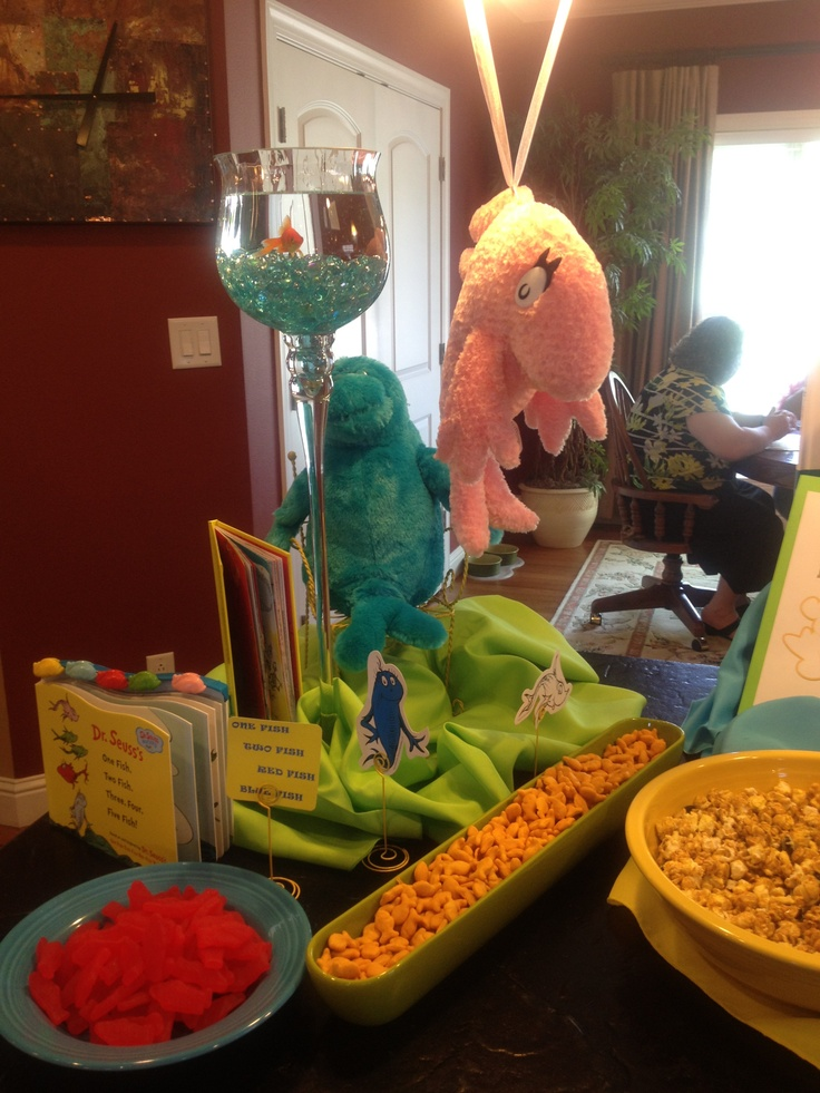 Dr seuss themed baby shower one fish two fish red fish for One fish two fish red fish blue fish