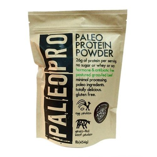 Paleo Pro Protein Powder Feed your muscles properly with this all natural paleo protein powder with all paleo ingredients and packing 26g protein/serving! Made with Antibiotic/Hormone free Grass-Fed &