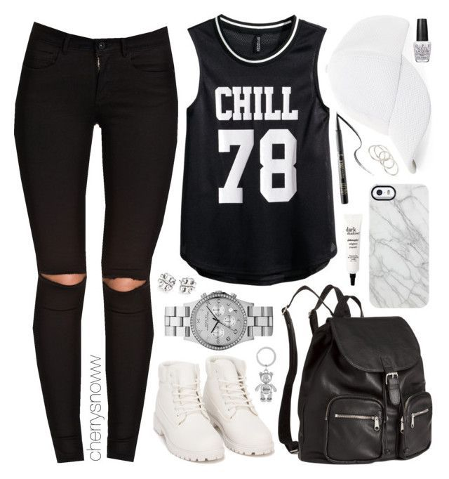 """""""Black and white sporty swag outfit"""" by cherrysnoww ❤ liked on Polyvore featuring BCBGeneration, ONLY, Nly Shoes, H&M, Marc by Marc Jacobs, Uncommon, Tory Burch, tarte, philosophy and Harrods"""