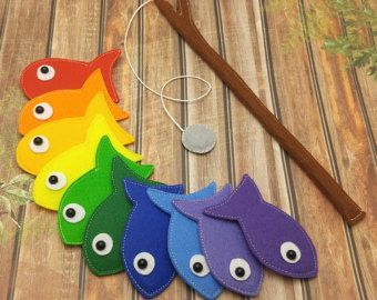 Felt Magnetic Fishing Game, Kids Travel Game, Kids Fishing Set, Kids Birthday Gift – Hand Embroidered Border