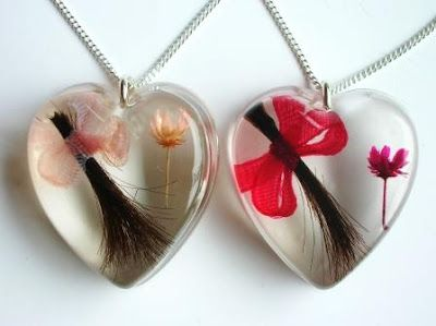 Lock of hair keepsake jewellery, love this idea!