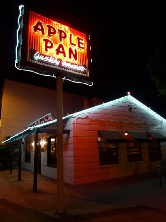 Get a hickory burger and some apple pie or banana cream pie at the Apple Pan  in Los Angeles