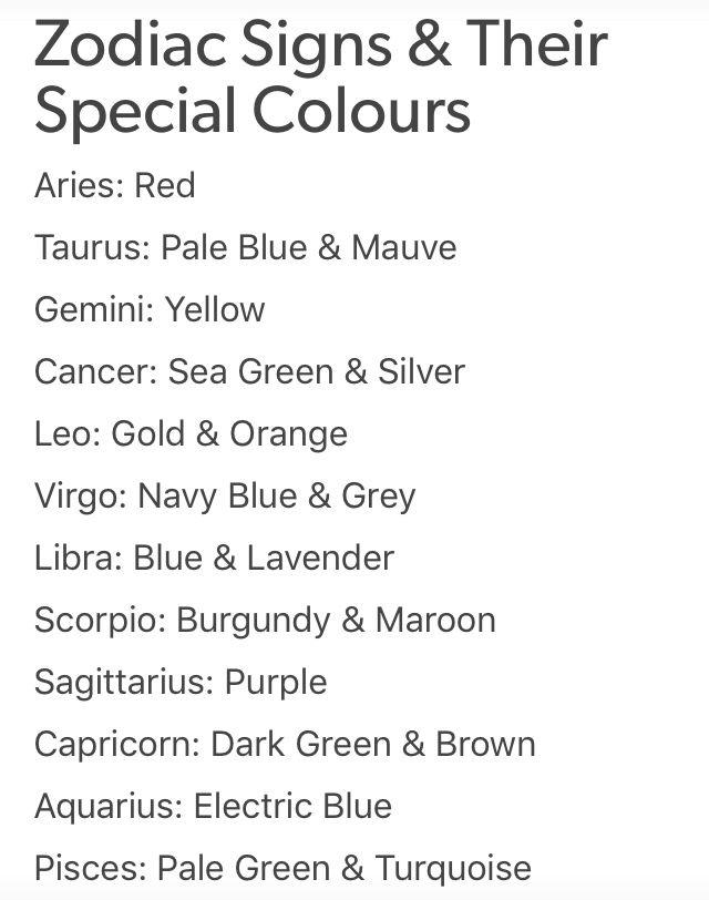 Zodiac Signs & Their Special Colours #ateology #zodiac #zodiacsigns