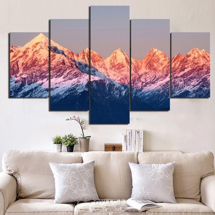 Superior 5 Piece Multi Panel Modern Home Decor Framed Sunset Mountain Landscape Wall  Canvas Art #