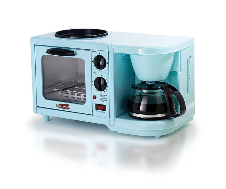 Here's a list of the best blue toasters including this Blue Toaster, Coffee Pot, Griddle Combo Unit.  It's a multifunction breakfast center.