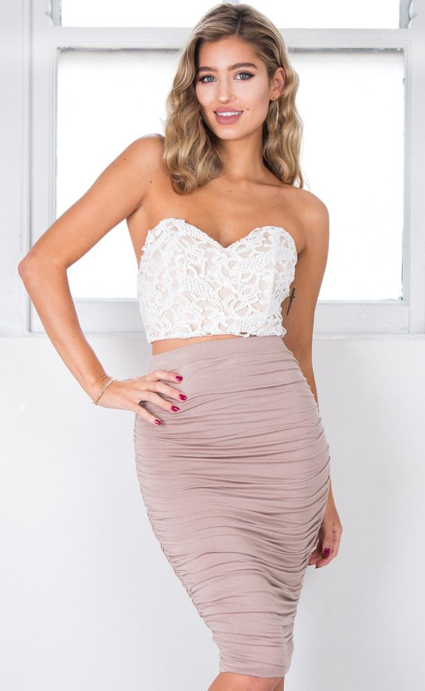 Showpo Fame Game crop top in white lace - 10 (M) Crop Tops