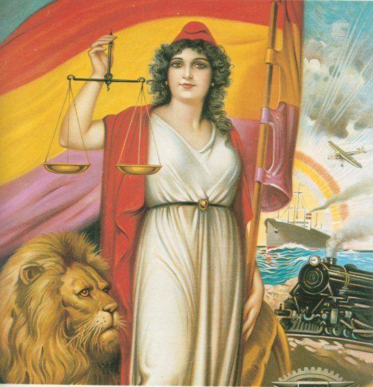 Alegoría de la II República, con la bandera y la balanza de la justicia y la igualdad