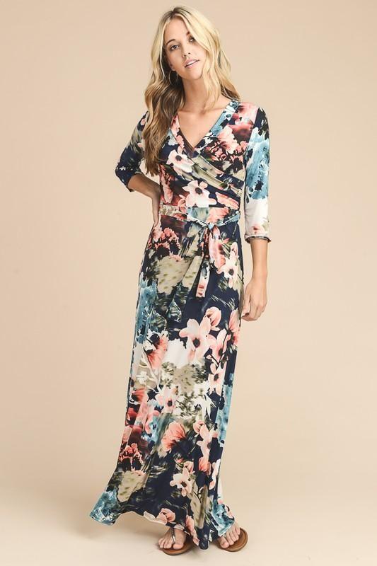 """Charlie"" New Wave floral wrap maxi dress"