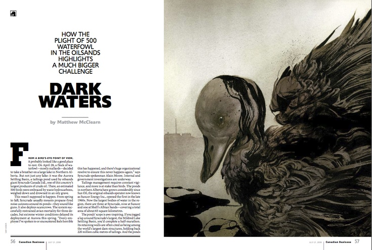 """Silver winner in #Illustrations. """"Dark Waters"""" by Sam Weber published in #Canadian Business, 2008."""