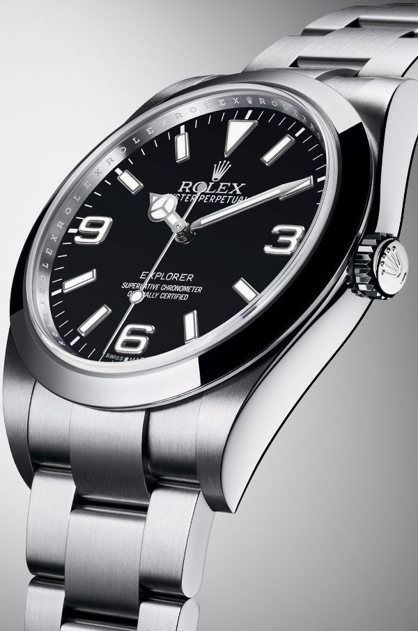 The new Rolex Explorer watch in 904L steel with a robust Oyster case and Oyster bracelet and its signature black dial with large 3,6 and 9 numerals.