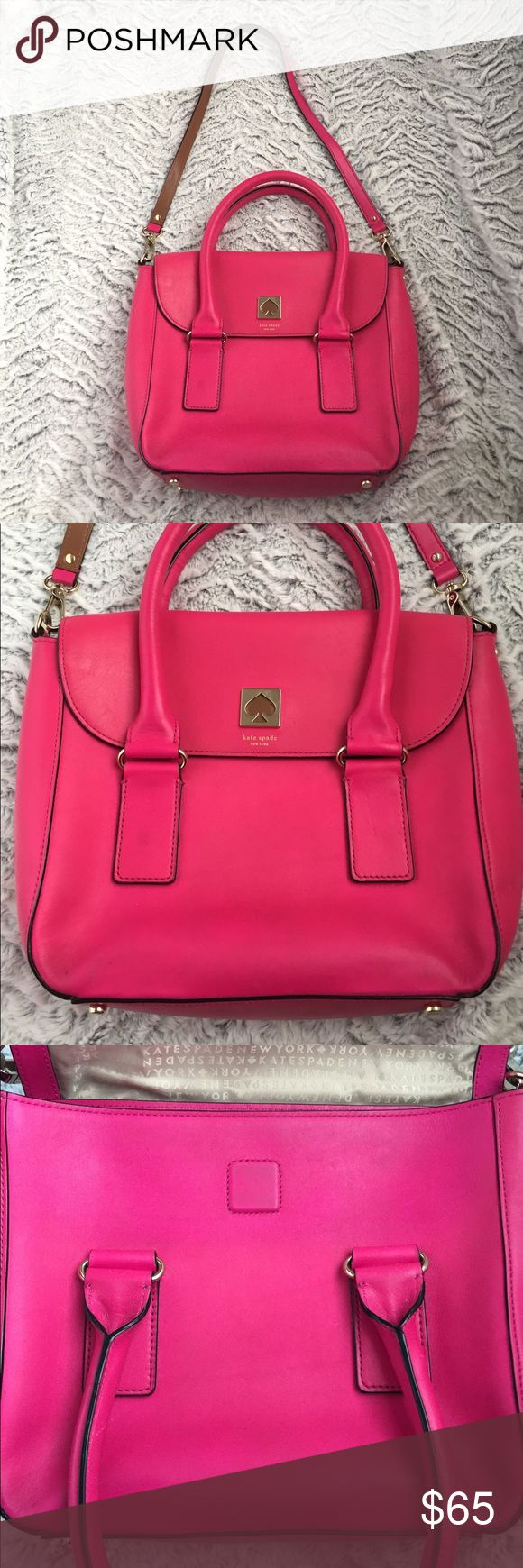Kate spade Flo bond street hot pink bag purse Kate spade bond street hot pink colored. Flo style. Does show some wear on leather from typical usage. Inside is clean. Price reflects wear. kate spade Bags Shoulder Bags