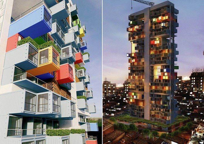 Так в Мумбаи (Индия) в скором времени может появиться целый жилой дом из контейнеров, который поможет частично решить проблему переселения жителей из трущоб. В рамках архитектурного конкурса на лучший проект жилого здания с применением морских контейнеров в ка�
