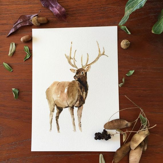 Elk 2 art print of watercolor painting Woodland by TheJoyofColor