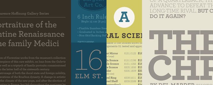 Archer, the colorful slab serif.    Sweet but not saccharine, earnest but not grave, Archer is designed to hit just the right notes of forthrightness, credibility, and charm.
