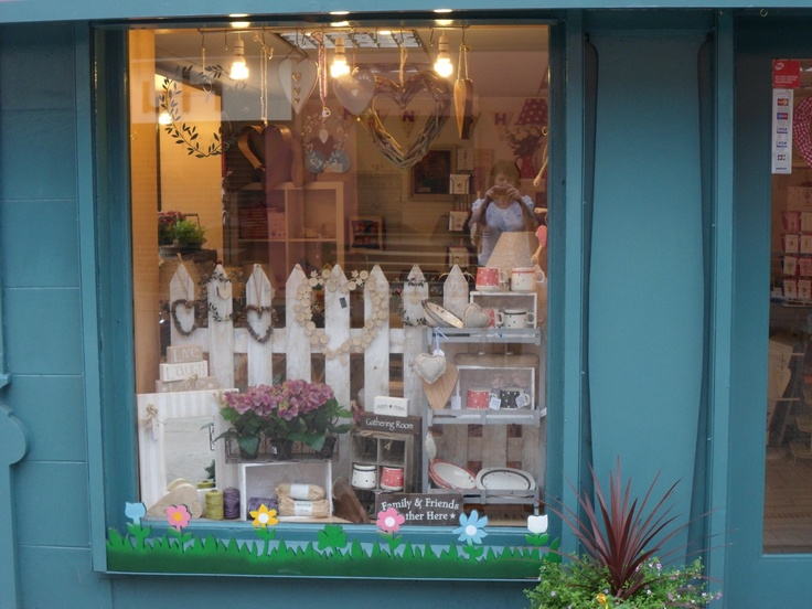 beautiful shop window display with crates