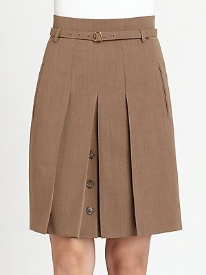 Akris Belted Pleated Stretch Wool Skirt