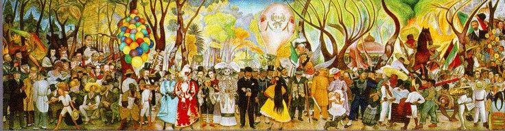 Un día como hoy 24 de Noviembre pero del año 1957  muere el pintor mexicano Diego Rivera. Famoso por plasmar obras de alto contenido social en edificios públicos. Fue creador de diversos murales en distintos puntos del país y en el extranjero. Esta fotografía es del mural llamado Sueño de una tarde de domingo en la alameda central, que se encuentra en el pabellón Diego Rivera en la Ciudad de México.