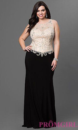 Bead Embellished Bodice Floor Length Dress with Sheer Back by Elizabeth K at PromGirl.com