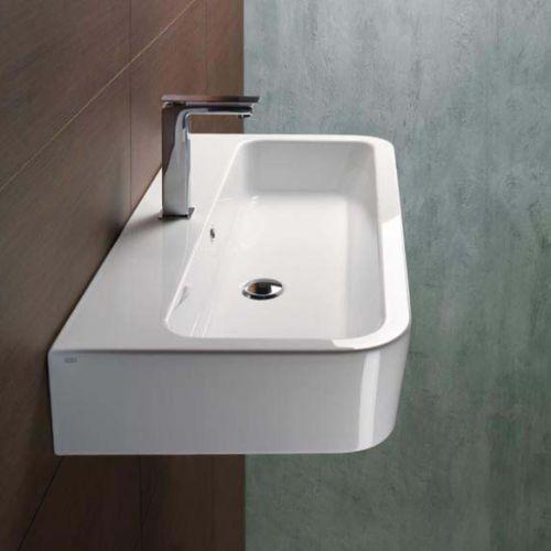 Bathroom Sink, GSI 694011, Curved Rectangular White Ceramic Wall Mounted or Vessel Bathroom Sink 694011
