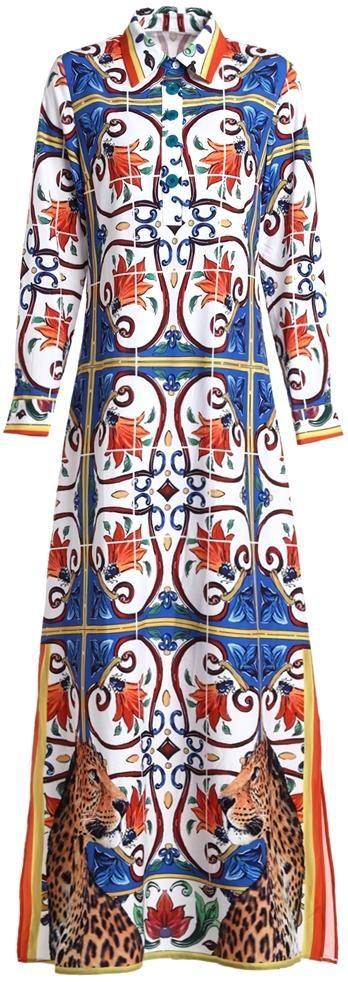 Majolica Print Maxi Shirt Dress, Multicolored