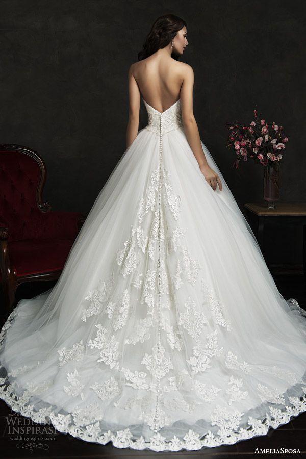 filipina strapless ball gown wedding dress lace bodice hem skirt back view train