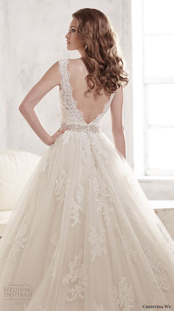 christina wu wedding dresses 2015 thick lace strap v neckline stunning a line wedding dress 15580 back view zoom