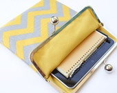 Chevron iPad Case or Sleeve with Kisslock Frame - iPad Case or Clutch - Notebook Clutch - Yellow and Gray Chevron Print Linen