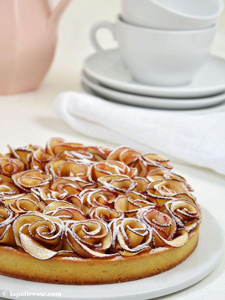 Tarte Bouquet de roses Tarte aux pommes Apfelrosen-Tarte Rezept französischer Apfelkuchen Apfeltarte