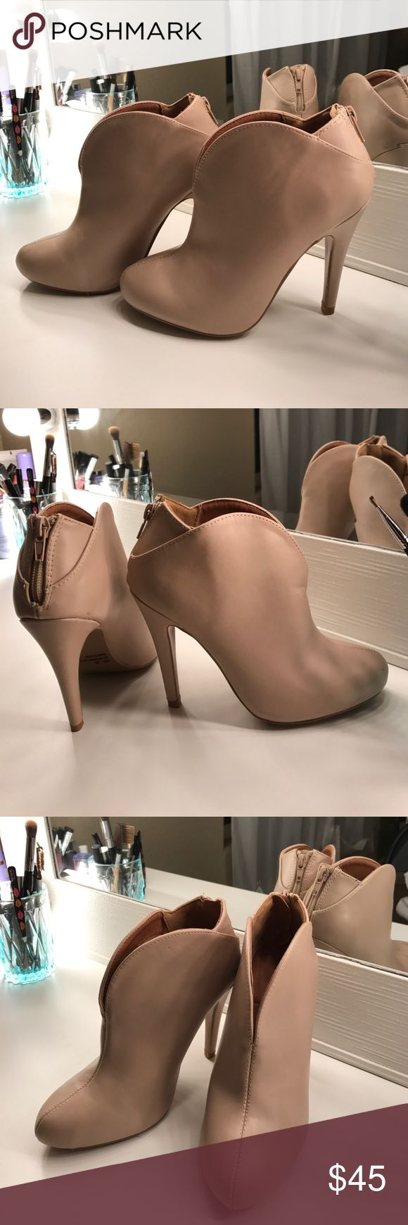 Nude ankle boots Sassy cute ankle boots, very comfortable. Leather like material, NWOT. Shoes Ankle Boots & Booties