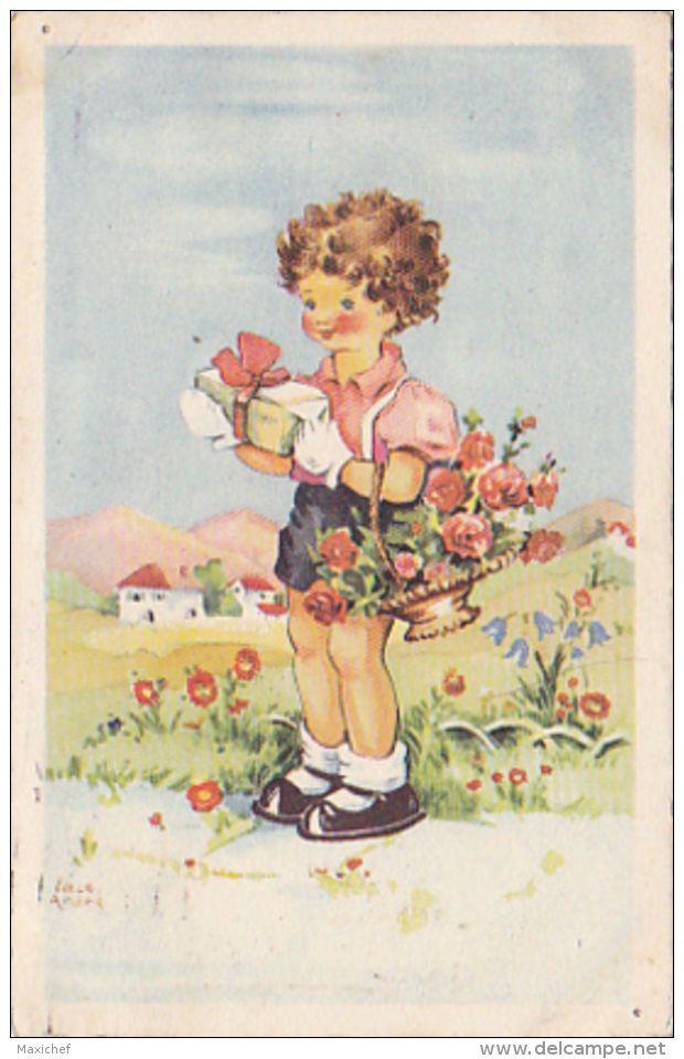 Carte Illustrée Par Luce André - Jeune Homme Aux Gants Blancs Portant Un Cadeau Et Une Corbeille De Fleurs - 1949