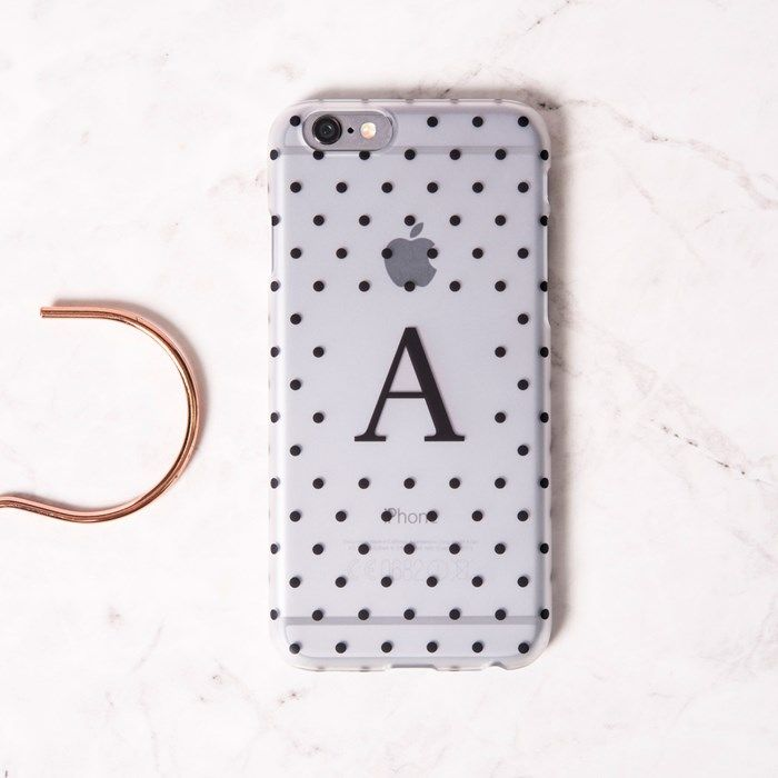 Personalised iPhone Plus Clear Cover - Black Dots Initial | GettingPersonal.co.uk