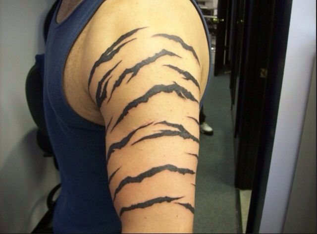 Tiger stripe tattoo