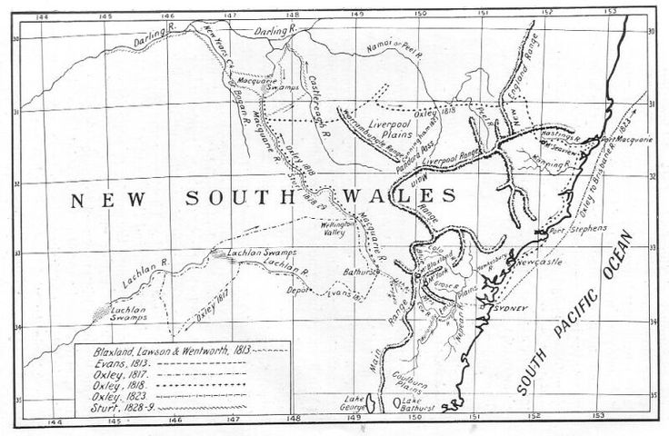 Routes of Blaxland, Wentworth, and Lawson (1813); Evans (1813); Oxley (1817, 1818, 1823); and Sturt (1828 and 1829)