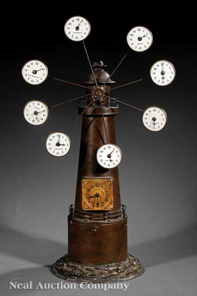 An Antique American Tôle Lighthouse Automaton Clock, late 19th c.,