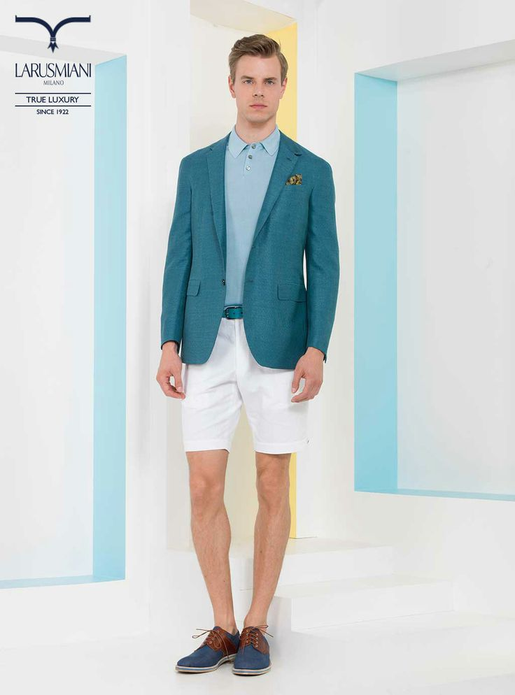 Handmade jacket - Silk polo shirt - Cotton/linen bermuda shorts - Silk micropattern pocket handkerchief     - Shagreen belt  - Denim derby shoes with leather details      #SS2014 #fashion #style #menswear #luxury #larusmiani www.larusmiani.it
