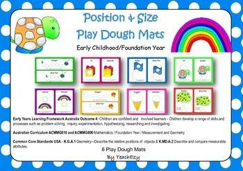 Maths - Position & Size Kindergarten and Preschool: 8 gorgeous mats covering position and size concepts.  Australian Curriculum ACMMG010 and ACMMG006 Mathematics / Foundation Year / Measurement and Geometry   Common Core Standards USA - K.G.A.1 Geometry—Describe the relative positions of  objects & K.MD.A.2 Describe and compare measurable attributes.