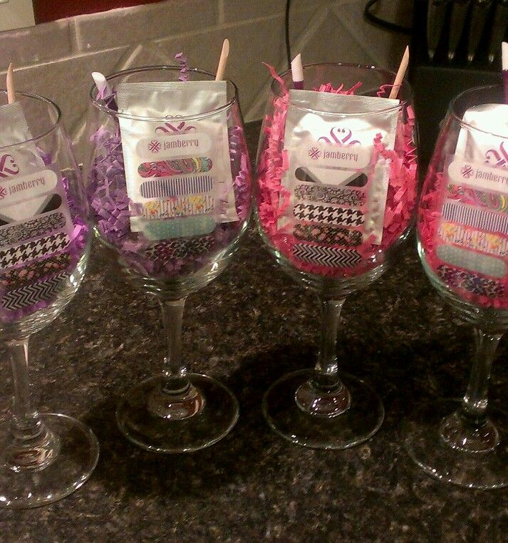 A friend is having a Wine and Jam Party. These wine glasses from the Dollar Store along with some Jamberry Swag make for a great prize! :) http://taraolsen.jamberrynails.net/