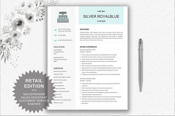 Resume for Cashier | Retail | Sales by DocumentFolder on @mywpthemes_xyz